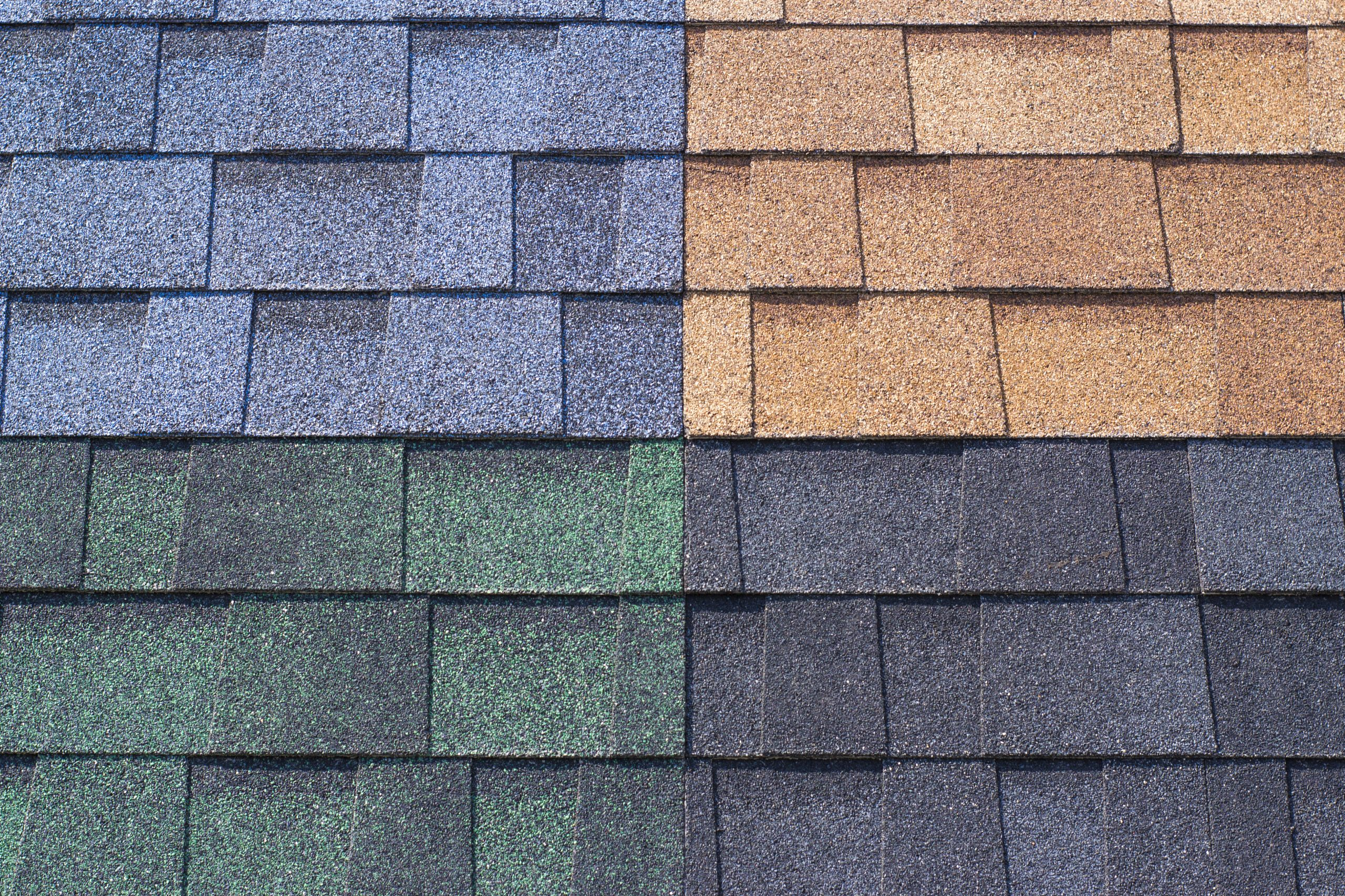 multi-colored bitumen shingles, a sample of the product advertising